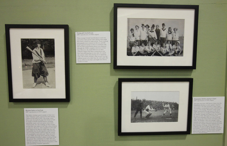 Right: These photographs are part of a women�s baseball exhibit that opens Saturday at the Edmond Historical Society and Museum.  PHOTOs bY DAVID MCDANIEL, THE OKLAHOMAN