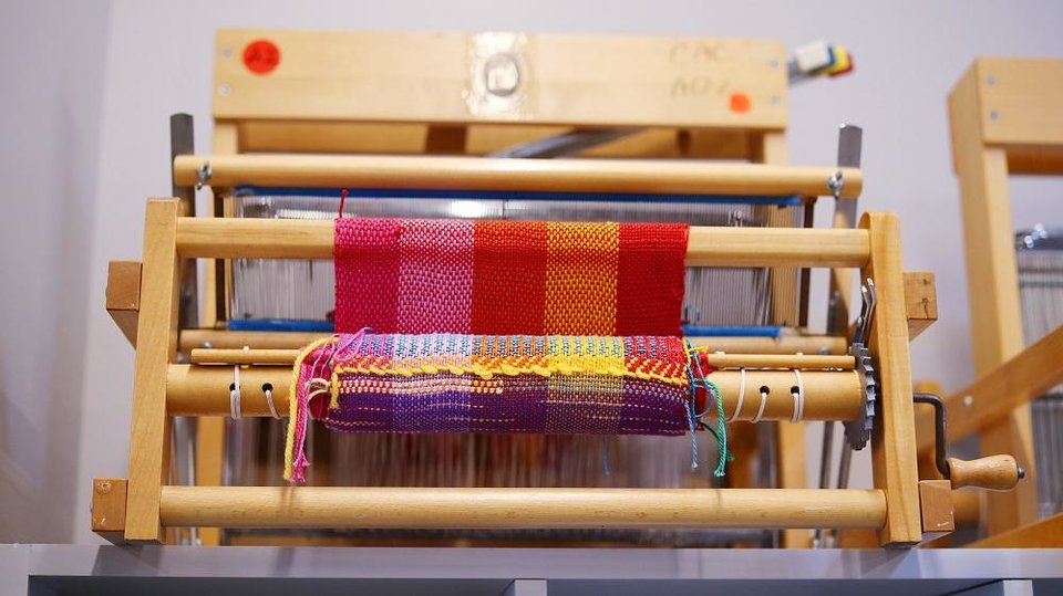 Photo -  Looms are lined up in the fiber arts studio of Oklahoma Contemporary Arts Center's newly remodeled Studio School, Monday, March 9, 2020. [Photo by Doug Hoke/The Oklahoman]