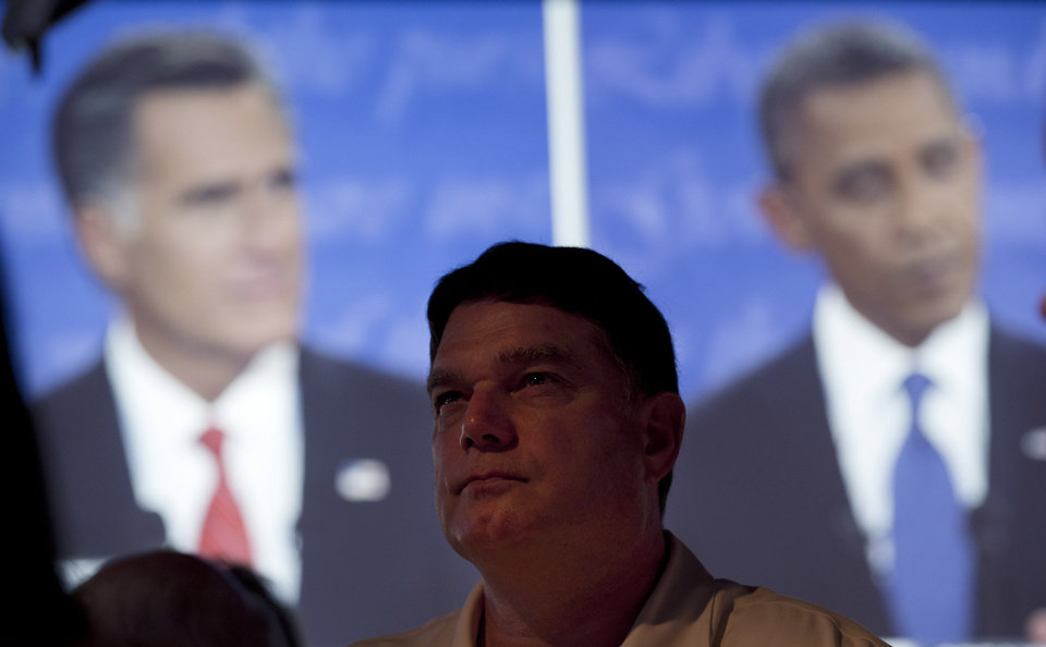 Calvin Goad watches the first presidential debate between President Barack Obama and Republican presidential nominee Mitt Romney from a restaurant in San Diego, Wednesday, Oct. 3, 2012. (AP Photo/Gregory Bull) ORG XMIT: CAGB102