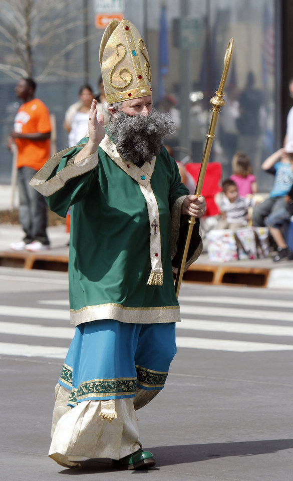 David Egan plays the part of Saint Patrick in the annual Saint Patrick's Day Parade in downtown Oklahoma City, OK, Saturday, March 16, 2013,  By Paul Hellstern, The Oklahoman