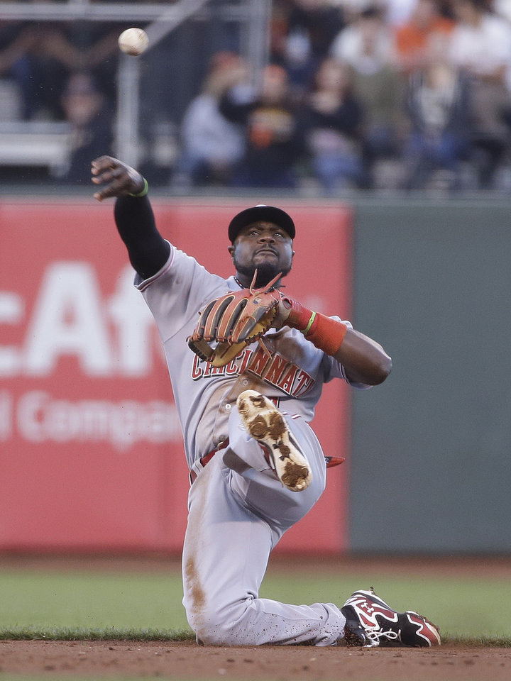 Photo - Cincinnati Reds second baseman Brandon Phillips makes the throw to first base after fielding a ground ball hit by the San Francisco Giants' Gregor Blanco in the third inning of their baseball game Thursday, June 26, 2014, in San Francisco. Blanco was safe on the play. (AP Photo/Eric Risberg)