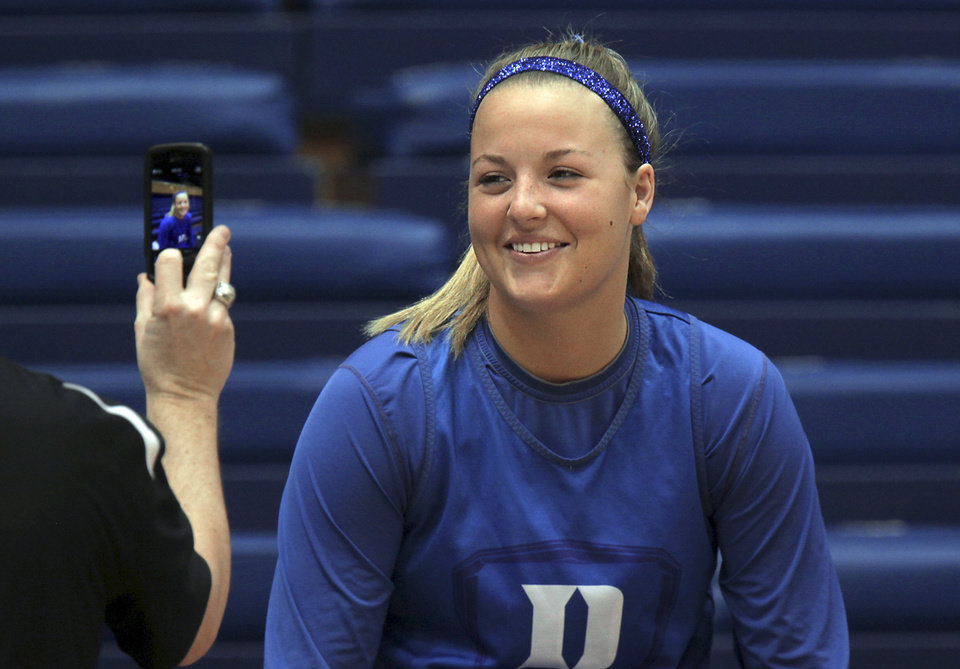 Photo - Duke's Tricia Liston smiles for a photo before practice for the NCAA women's college basketball tournament in Durham, N.C., Friday, March 21, 2014.  Duke faces Winthrop in the first round on Saturday. (AP Photo/Ted Richardson)