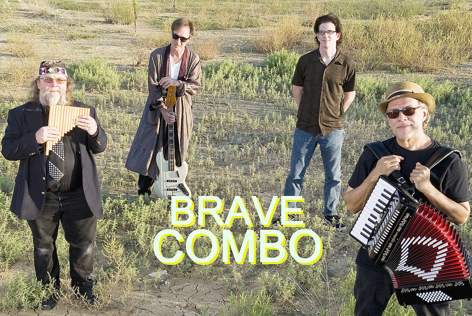 Photo - Brave Combo will kick off the Summer Breeze concert series Sunday in Norman. The band is, from left, Danny O'Brien, Jeffrey Barnes, Little Jack Melody, Alan Emert and Carl Finch. PHOTO PROVIDED