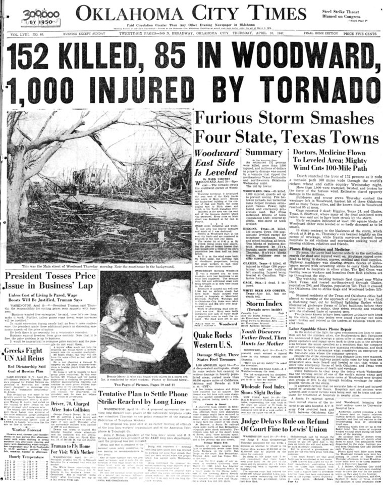Front page of the Oklahoma City Times as it appeared on Thursday, April 10, 1947. HEADLINE: 152 KILLED, 85 IN WOODWARD, 1,000 INJURED BY TORNADO
