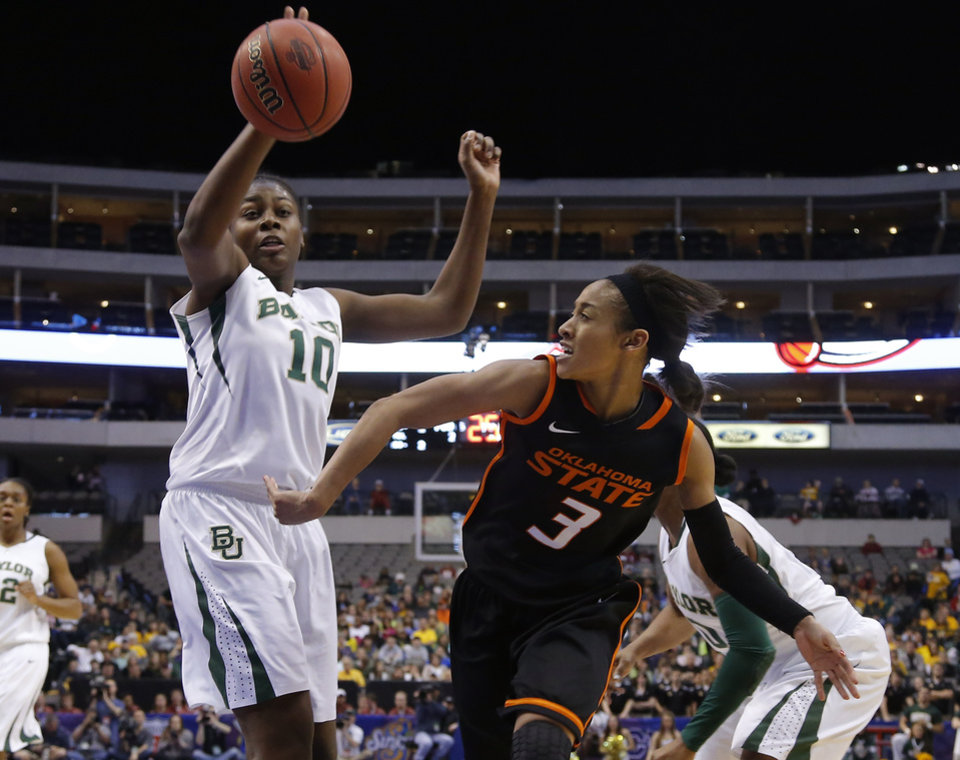 Photo - Oklahoma State's Tiffany Bias (3) passes the ball by Baylor's Destiny Williams (10) during the Big 12 tournament women's college basketball game between Oklahoma State University and Baylor at American Airlines Arena in Dallas, Sunday, March 10, 2012.  Oklahoma State lost 77-69. Photo by Bryan Terry, The Oklahoman