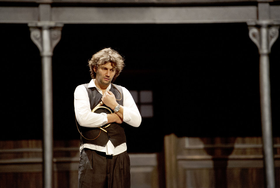 Photo - In this undated photo provided by Alla Scala theater press office, Jonas Kaufmann, who plays Lohengrin, performs during rehersals of Richard Wagner's Lohengrin at the Milan La Scala opera house, Italy. The dual bicentennial of the births of composers Giuseppe Verdi and Richard Wagner is turning into a dueling bicentennial. La Scala general manager Stephane Lissner on Monday, Dec. 3, 2012 dismissed as