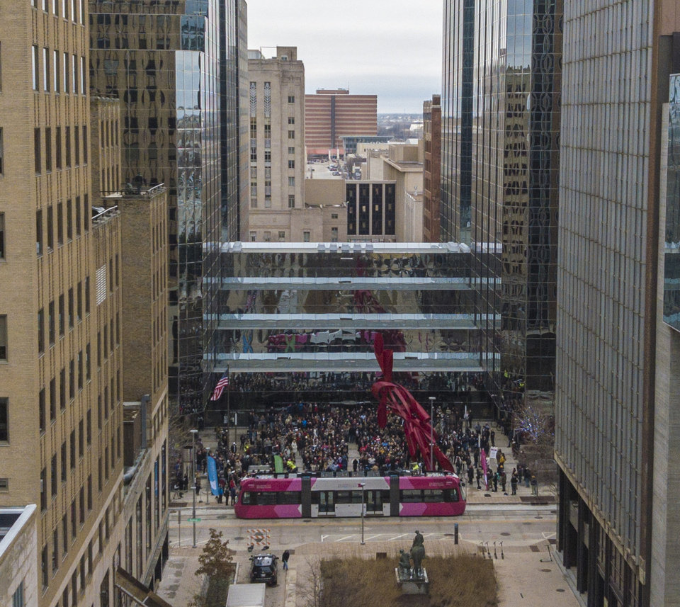 Photo - Drone image of OKC Streetcar ribbon cutting ceremony.