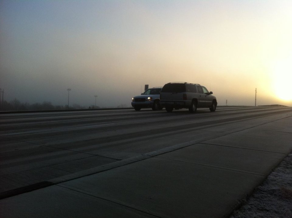 Photo - An icy Grand Boulevard overpass over Lake Hefner Parkway - Photo by Robert Medley