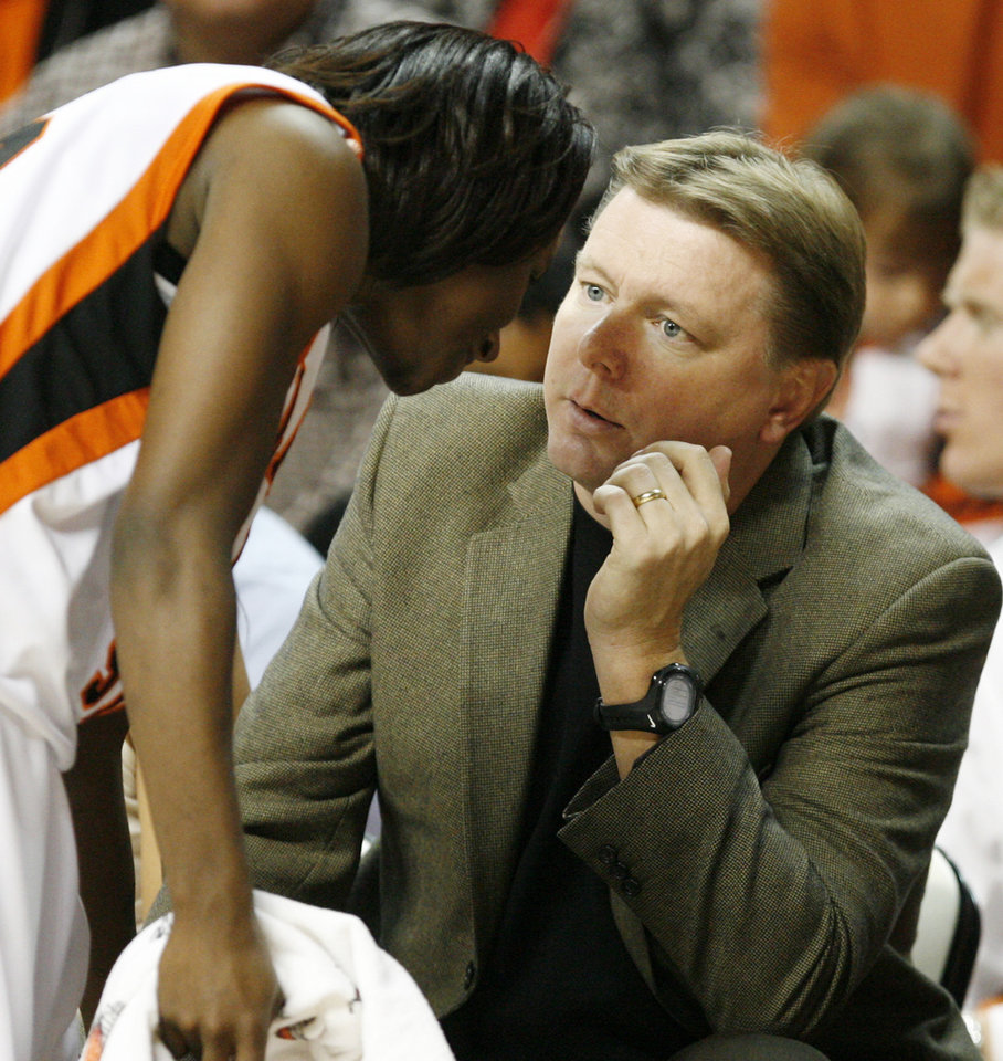OSU head coach Kurt Budke talks to Andrea Riley (10) during the women's college basketball game between Oklahoma State University and New Orleans University at Gallagher-Iba Arena in Stillwater, Okla., Wednesday, Nov. 26, 2008.  OSU won, 84-54. BY NATE BILLINGS, THE OKLAHOMAN
