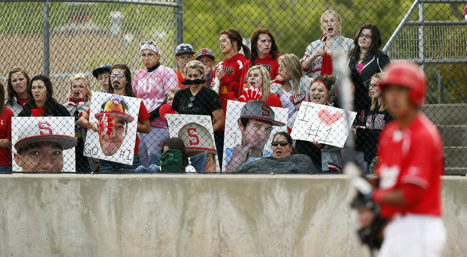 Sentinel fans root for the Bulldogs during a Class B high school baseball game between between Leedey and Sentinel in the state baseball tournament at the Edmond Memorial baseball field in Edmond, Okla., Friday, May 3, 2013. Photo by Nate Billings, The Oklahoman