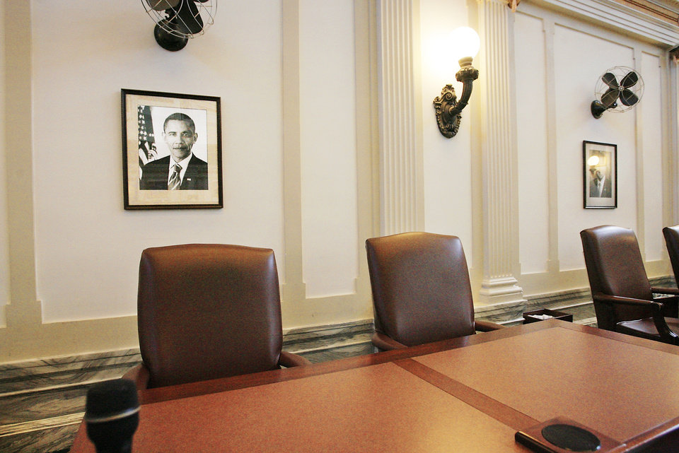 A portrait of President Barack Obama hangs on a wall in 2009 in the state House chamber. photo BY JIM BECKEL, OKLAHOMAN archive