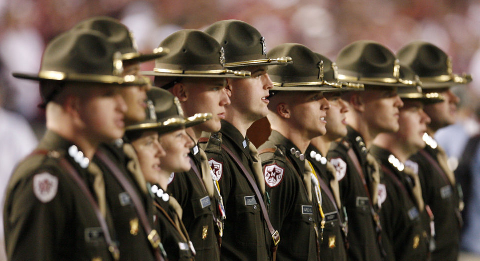 Photo - Members of the Corps of Cadets stand on the sideline in the second half during the college football game between the University of Oklahoma (OU) and Texas A&M University (TAMU) at Kyle Field in College Station, Texas, Saturday, Nov. 8, 2008. BY NATE BILLINGS, THE OKLAHOMAN