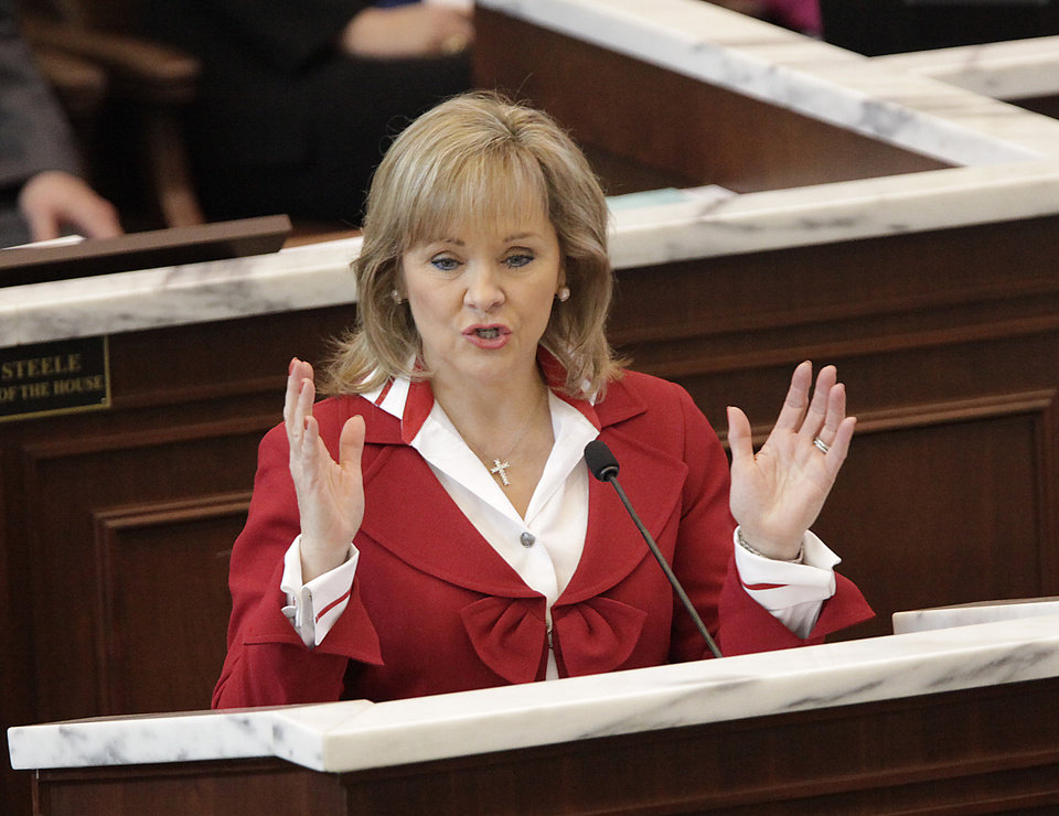 Gov. Mary Fallin delivered her  State of the State address to a joint session of the Oklahoma legislature Monday afternoon, Feb. 7, 2011. Photo by David McDaniel, The Oklahoman