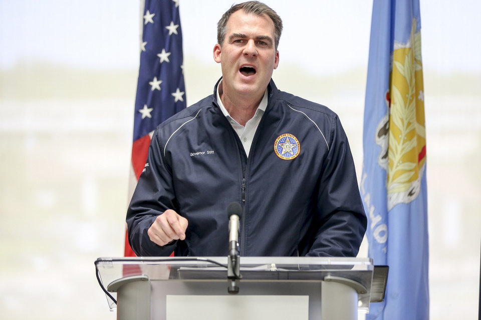 Photo - Oklahoma Governor Kevin Stitt speaks press conference about COVID-19 at Oklahoma State University Medical Center in Tulsa on Friday, April 10, 2020. IAN MAULE/Tulsa World