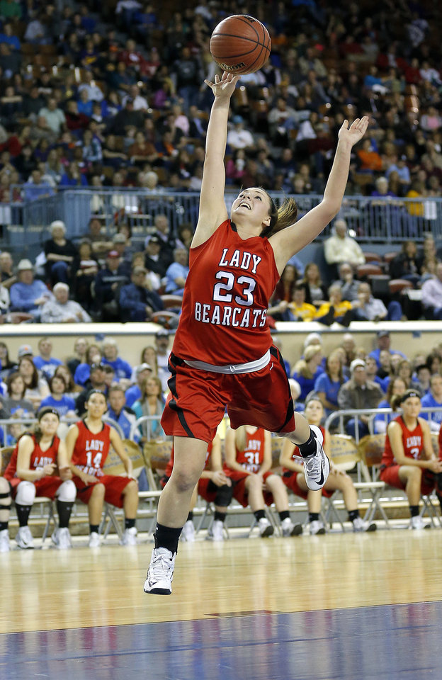 Photo - Erick's Shyli May shoots a lay up during the Class B girls state championship between Erick and Lomega at the State Fair Arena.,  Saturday, March 2, 2013. Photo by Sarah Phipps, The Oklahoman