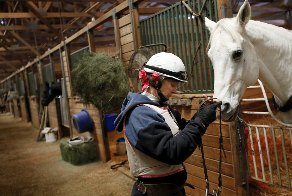 Photo -  Pony rider Laura Daily prepares her horse, Elvis, to pony racehorses Nov. 19 at Remington Park.    NATE BILLINGS -