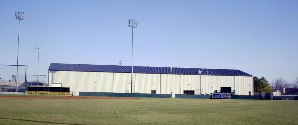 Photo - BROKEN ARROW HIGH SCHOOL, TRAINING FACILITY, BUILDING EXTERIOR: Broken Arrow's Indoor Practice Facility is used for several sports. The building opened in 2004.    PHOTO PROVIDED      ORG XMIT: 0806132205161967