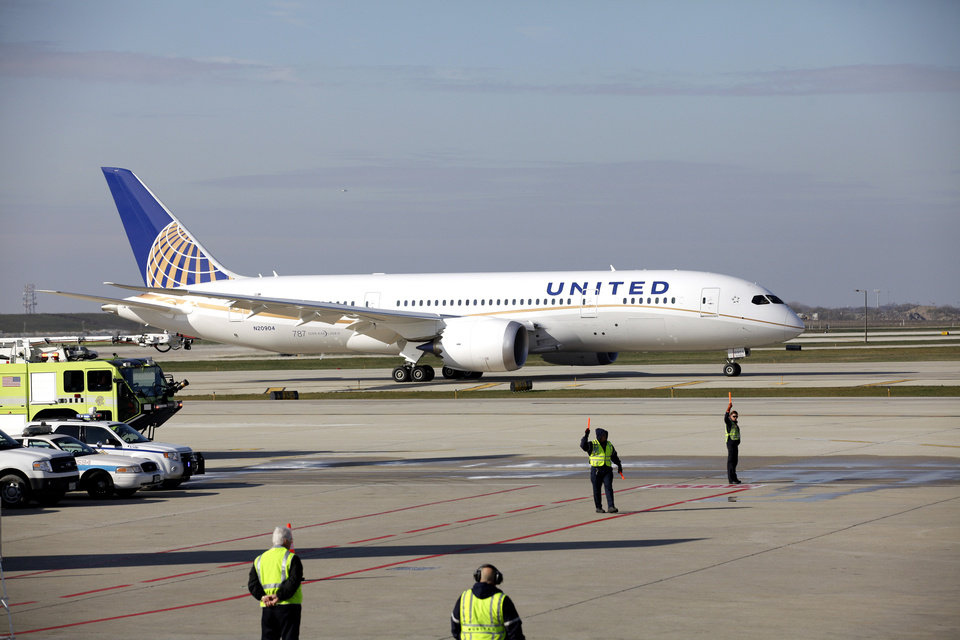 In this Sunday, Nov. 4, 2012 photo, a United Airlines 787 Dreamliner arrives at O'Hare international Airport in Chicago, from Houston. The Regional Transportation Authority says it will file a lawsuit Monday, Jan. 14, 2013, alleging that United Airlines subsidy United Aviation Fuels is falsely claiming to buy jet fuel out of a small office in a rural Illinois community to avoid paying tens of millions of dollars in taxes in Chicago, where the purchases are allegedly being made. (AP Photo/Nam Y. Huh)