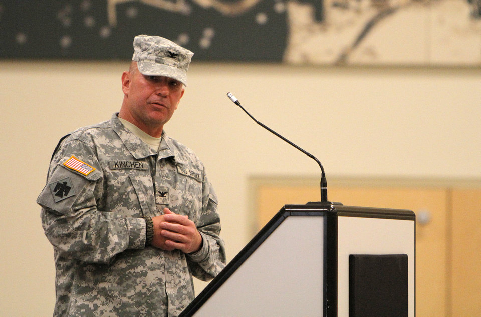 Photo - Col. Van L. Kinchen speaks during a the 45 Infantry Combat Team Change of Command Ceremony at the Norman Armed Forces Reserve Center, Sunday, June 3, 2012.  Photo by Garett Fisbeck, The Oklahoman