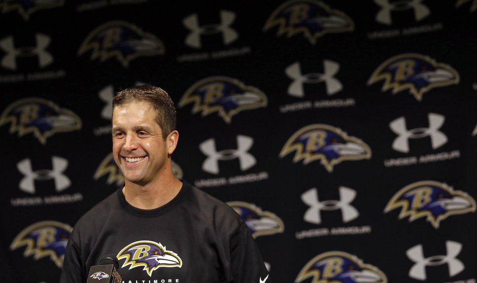 Photo - Baltimore Ravens head coach John Harbaugh speaks during a news conference at the team's practice facility in Owings Mills, Md., Monday, Jan. 14, 2013. The Ravens are scheduled to face the New England Patriots in the AFC Championship game on Sunday. (AP Photo/Patrick Semansky)