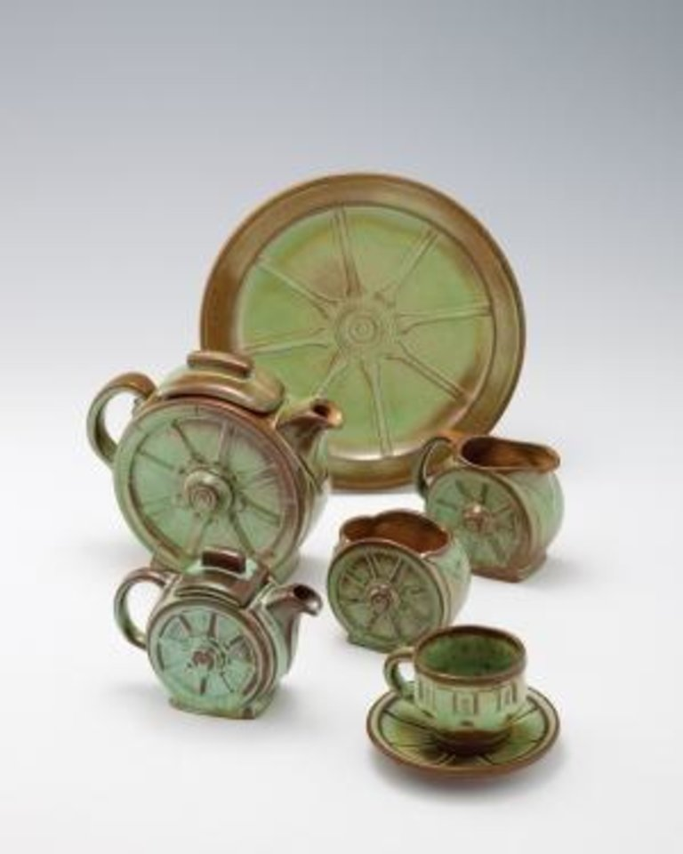 Frankoma founder John Frank's iconic Wagon wheel place setting with prairie green glaze. Photo provided.