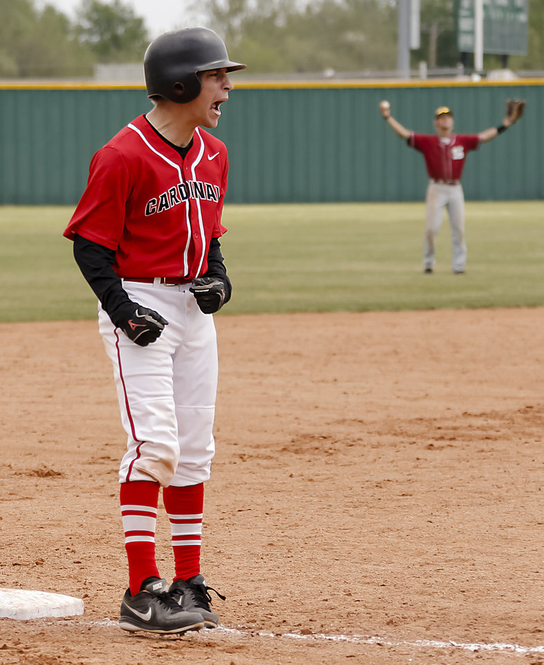 Photo - Verdigris's Ryan Hurd (5) reacts after the Cardinals scored a run during the 3A baseball semifinal game between Verdigris and Spiro on Friday, May 10, 2013, in Edmond, Okla.Photo by Chris Landsberger, The Oklahoman