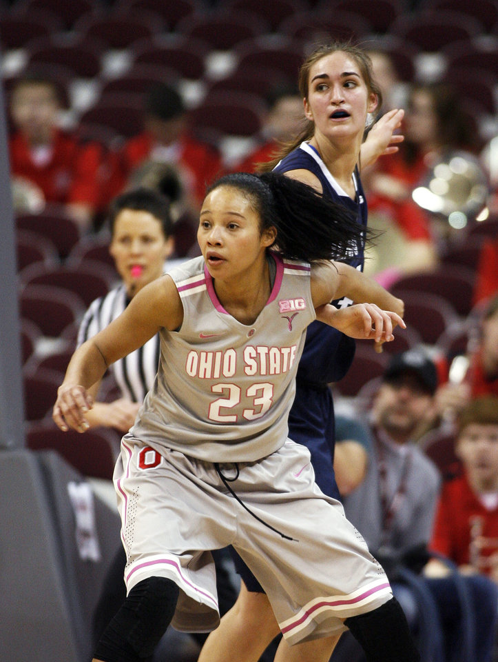 Photo - Ohio State's Martina Ellerbe (23) blocks out Penn State's Tori Waldner during the first half of an NCAA women's college basketball game, Sunday, Feb. 9, 2014, in Columbus, Ohio. (AP Photo/Mike Munden)