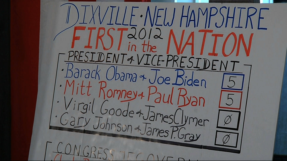 Photo -   In this still frame made from video, the votes sheet shows the results from Dixville Notch, N.H., Tuesday, Nov. 6, 2012 after residents cast the first Election Day votes in the nation. After 43 seconds of voting, President Barack Obama and Republican Mitt Romney each had 5 votes in Dixville Notch. (AP Photo/APTN)