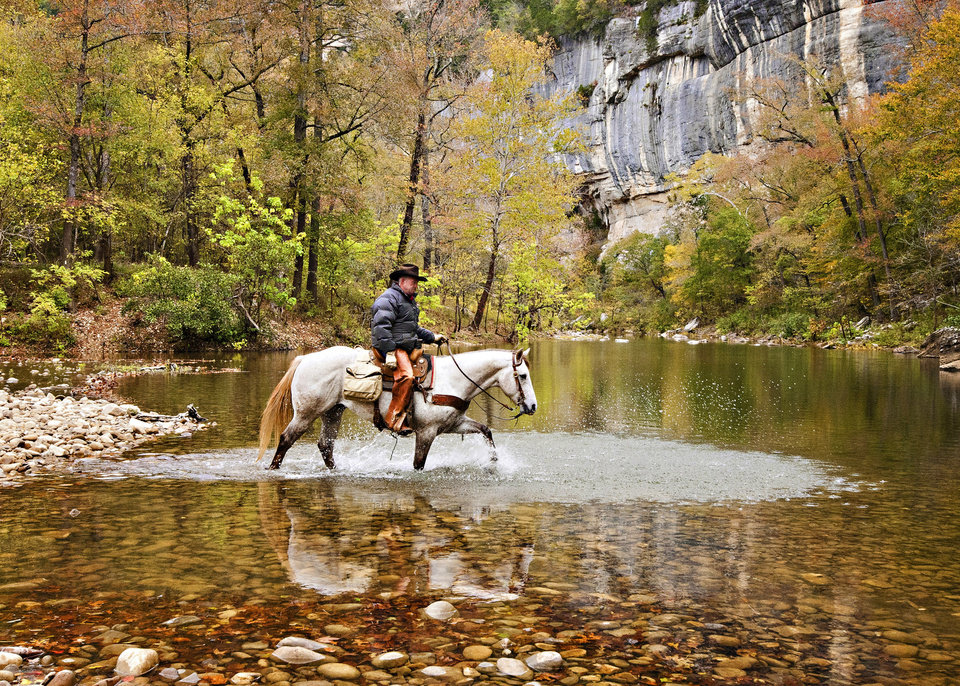 Photo - Trail riding is a popular year-round activity along the Buffalo River in northwest Arkansas. Photo by Rhonda Mills, Buffalo Outdoor Center  PROVIDED
