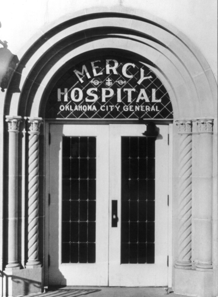 Photo - An entrance to Mercy General Hospital, owned and operated by the Sisters of Mercy, is shown in this vintage photograph. Photo provided by Sisters of Mercy