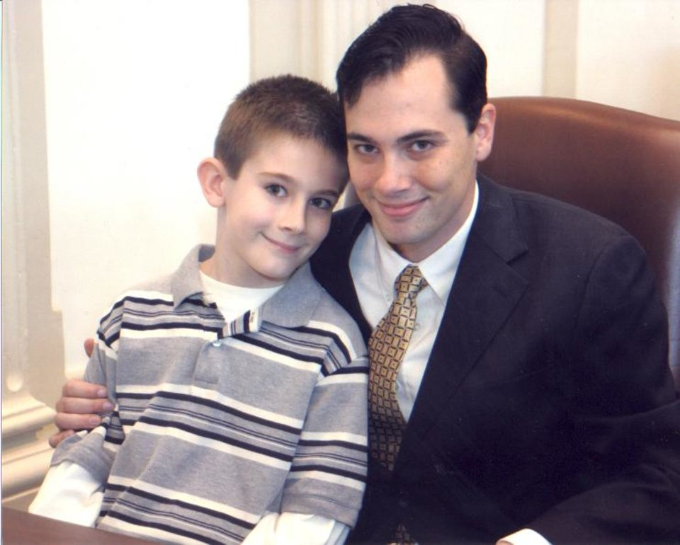 New State Representative Jason Murphey (R-Guthrie) on the house floor with son Jarod (7).<br/><b>Community Photo By:</b> House of Representatives<br/><b>Submitted By:</b> Shannon, Guthrie