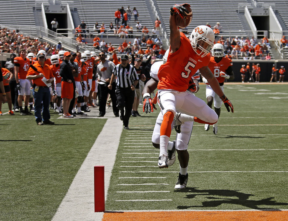 Oklahoma State's Josh Stewart scores a touchdown during OSU's spring football game at Boone Pickens Stadium in Stillwater, Okla., Sat., April 20, 2013. Photo by Bryan Terry, The Oklahoman