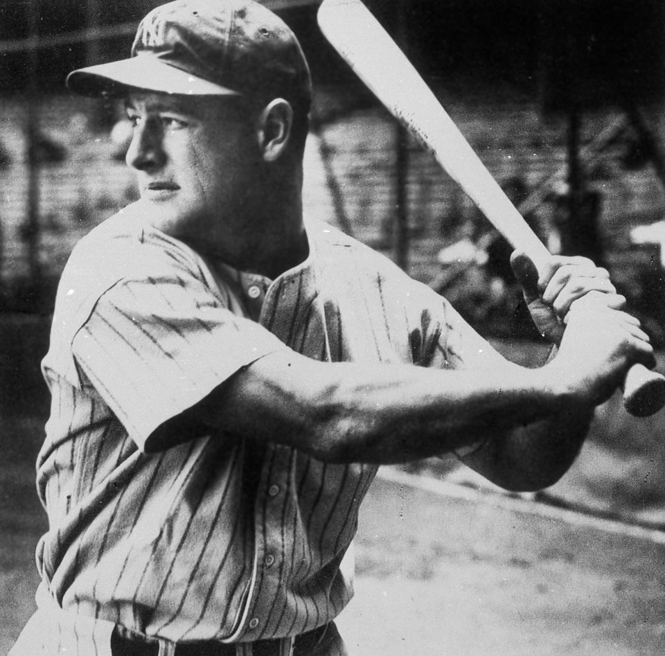 Photo - New York Yankees first baseman Lou Gehrig was a career .340 hitter and hit 493 home runs. AP Photo