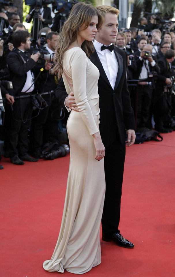 Photo - Actor Chris Pine, right, arrives for the opening ceremony and screening of Moonrise Kingdom at the 65th international film festival, in Cannes, southern France, Wednesday, May 16, 2012. (AP Photo/Lionel Cironneau) ORG XMIT: CAN188