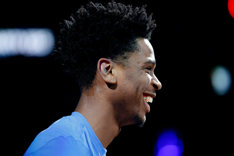 Photo - Oklahoma City's Shai Gilgeous-Alexander smiles during introductions before an NBA basketball game between the Oklahoma City Thunder and the Cleveland Cavaliers at Chesapeake Energy Arena in Oklahoma City, Wednesday, Feb. 5, 2020. Oklahoma City won 109-103. [Bryan Terry/The Oklahoman]