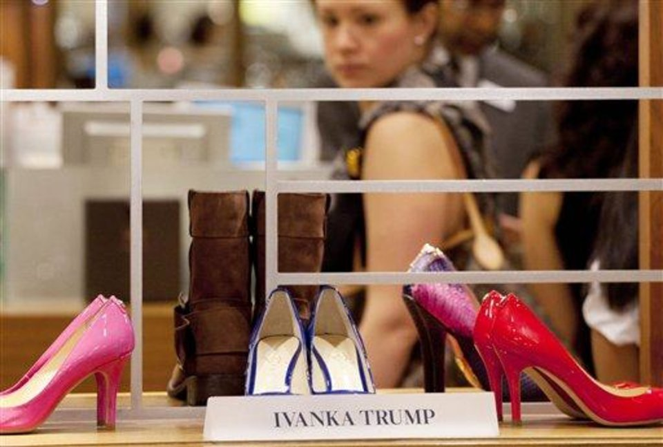 In this Aug. 23, 2012, photo, shoes from the Ivanka Trump collection are displayed at a Lord & Taylor department store in New York. Celebrities have long dabbled in design, but with the growth of TV shows and websites that follow everything celebrities say, wear and do, interest in their clothing lines has risen in recent years. North America revenue from celebrity clothing lines, excluding merchandise linked to athletes, rose 6 percent last year to an historic peak of $7.58 billion in 2011, according to the latest figures available by The Licensing Letter, an industry trade. That's on top of a nearly 5 percent increase in 2010. (AP Photo/Mark Lennihan)