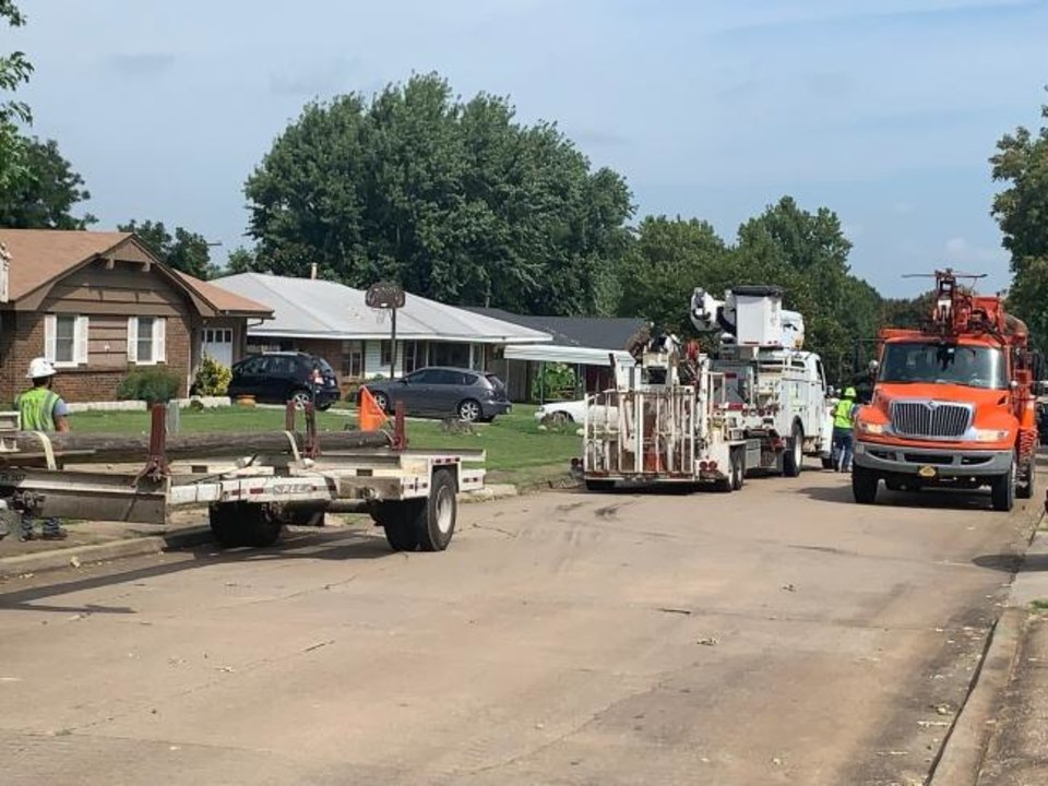 Photo -  Oklahoma Gas and Electric Co. received assistance from utilities and private contractors as far away as Alabama and Ohio to respond to outages caused by storms on Aug. 26. About 2,770 workers, including tree contractors used to clear debris from lines and linemen, were working to repair lines and restore power at the height of the utility's response.