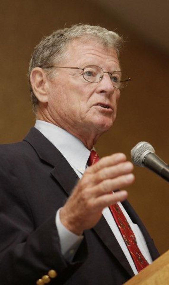 U.S. Sen. Jim Inhofe, R-Tulsa, speaks Thursday at a Greater Oklahoma City Chamber breakfast.  <strong>PAUL B. SOUTHERLAND - BY PAUL B. SOUTHERLAND</strong>