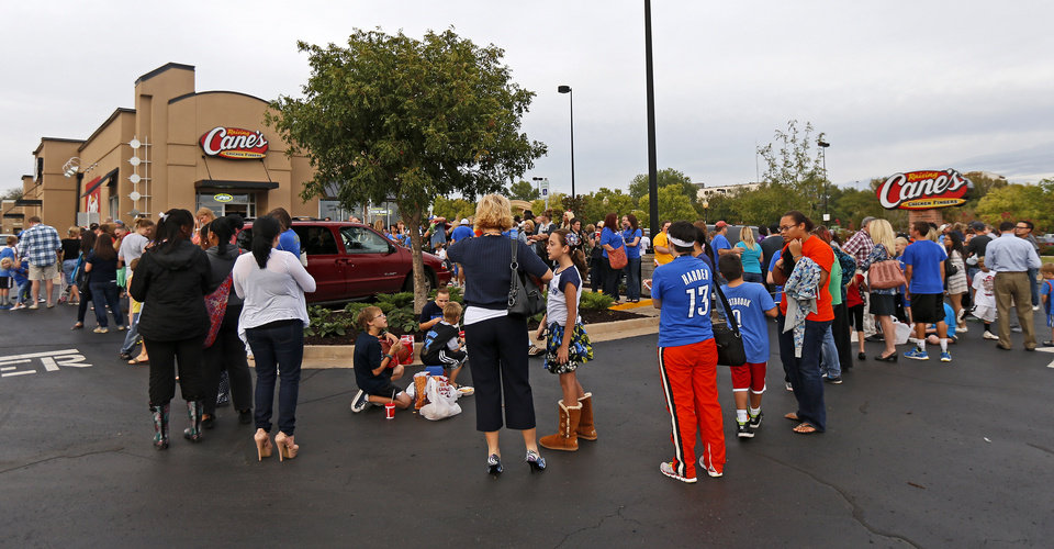 Fans wait in line for James Harden of the Oklahoma City Thunder at the new Raising Cane's in Edmond, Thursday, September 27, 2012. Photo by Bryan Terry, The Oklahoman