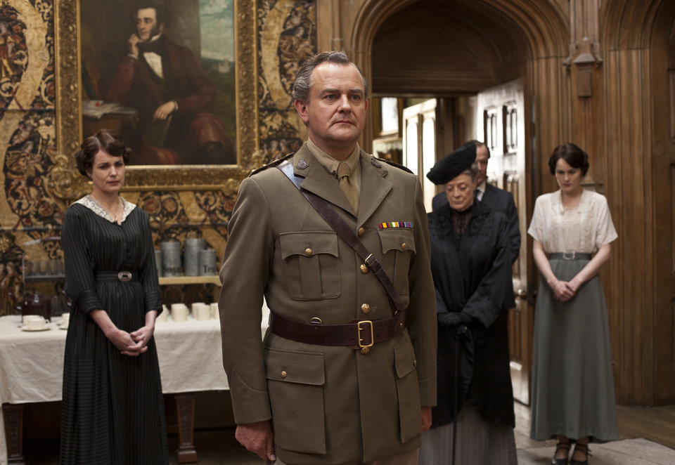 In this image released by PBS, from left, Elizabeth McGovern as Lady Cora, Hugh Bonneville as Lord Grantham, Maggie Smith as the Dowager Countess and Michelle Dockery as Lady Mary are shown in a scene from the second season of
