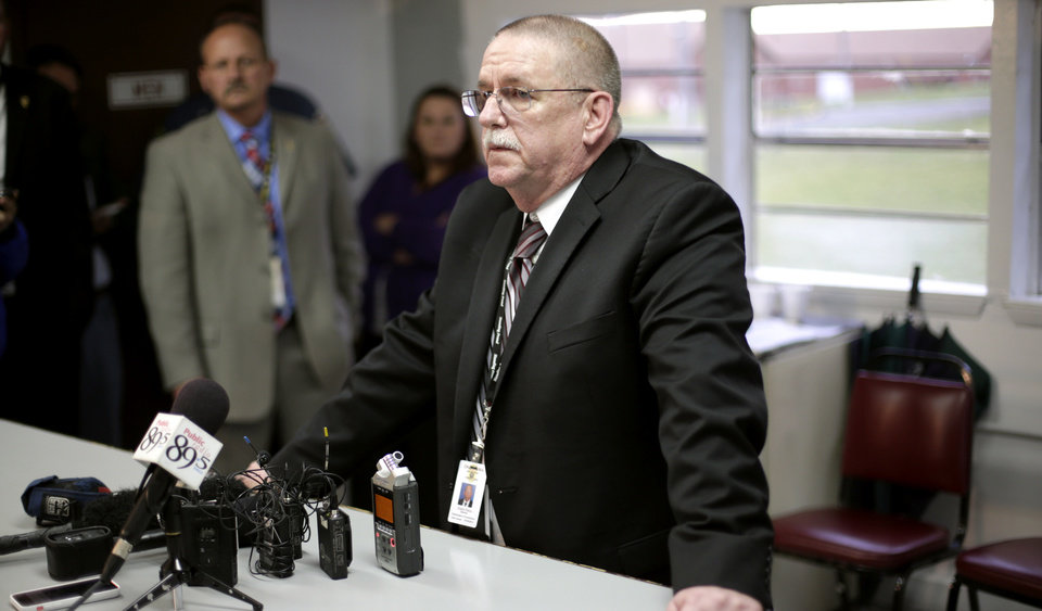 Robert Patton, director of the Department Corrections, talks with members of the media after the attempted execution of Clayton Lockett. PHOTO BY JOHN CLANTON, THE OKLAHOMAN