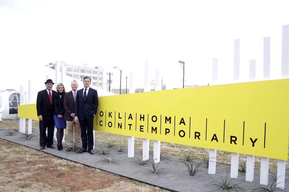 James Pickel, chairman of the Oklahoma Arts Council�s Allied Arts, Mary Ann Prior, executive director of City Arts Center, Oklahoma City Mayor Mick Cornett and Christian K. Keesee, chairman of the City Arts Center�s board, pose in front of the center�s new branding as the Oklahoma Contemporary Arts Center. Photo provided