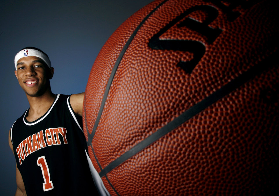 Xavier Henry, All-State boys basketball shot at the OPUBCO studio in Oklahoma City, Monday, April 2, 2007. By Matt Strasen, The Oklahoman