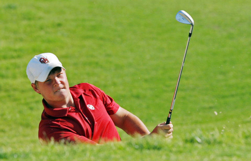 Photo - Sooner golfer Michael Gellerman hits from the bunker on hole three during the Norman Regional of the NCAA golf tournament at the University of Oklahoma (OU) Jimmie Austin Golf Course on Saturday, May 19, 2012, in Norman, Okla.  Photo by Steve Sisney, The Oklahoman