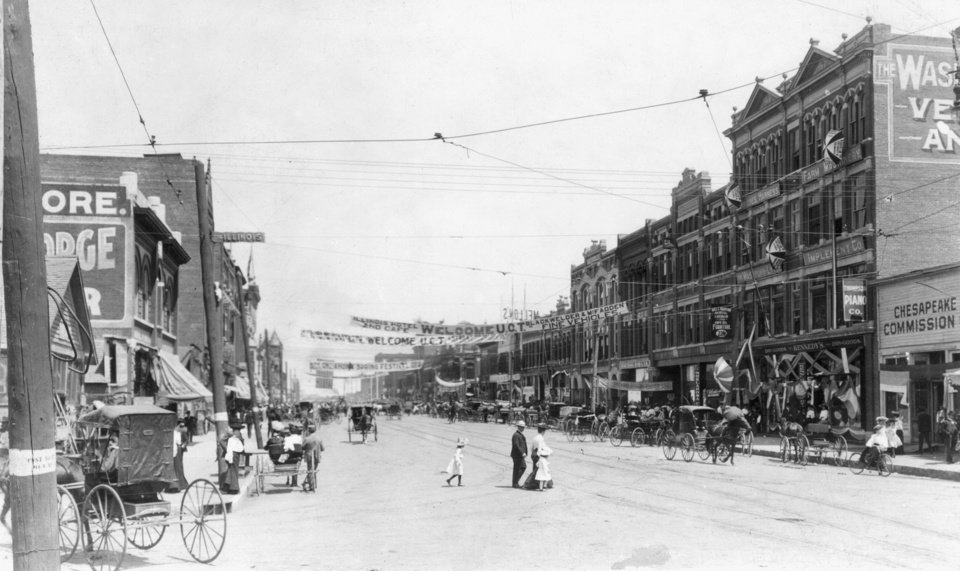 Main Street is seen from Harvey in this 1903 view of Oklahoma City.
