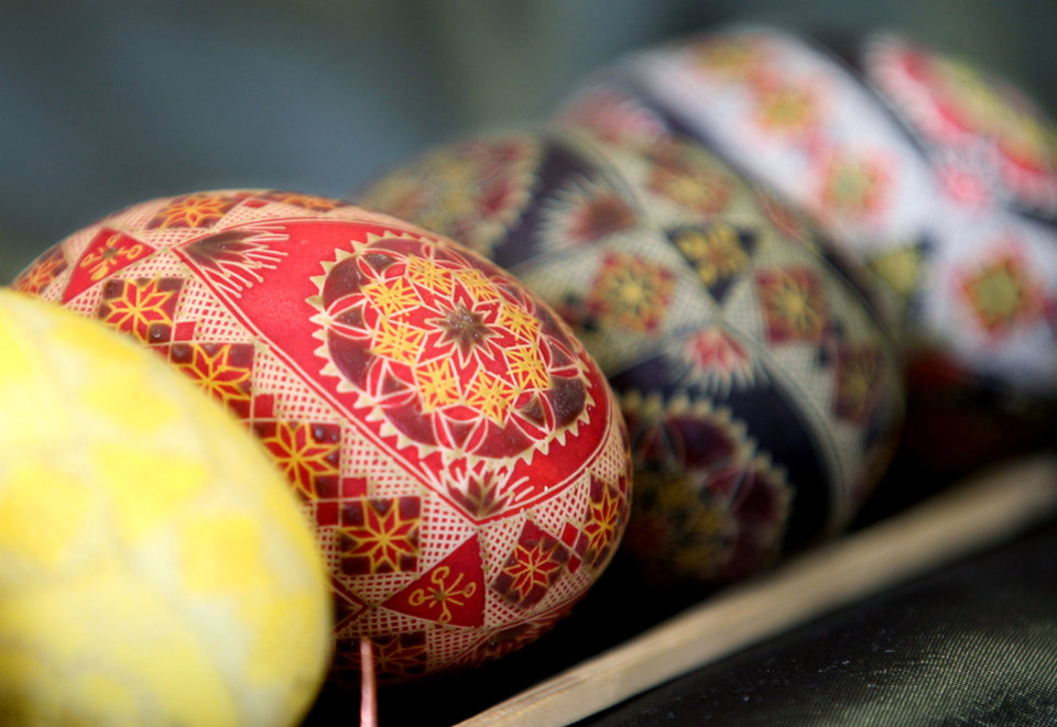 Photo - Various painted Easter eggs are displayed at an exhibition at the European Commission headquarters in Brussels, Thursday, March 29, 2012. (AP Photo/Yves Logghe)