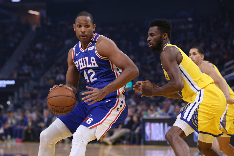 Photo - Mar 7, 2020; San Francisco, California, USA; Philadelphia 76ers forward Al Horford (42) spins towards the basket against the Golden State Warriors in the first quarter at the Chase Center. Mandatory Credit: Cary Edmondson-USA TODAY Sports