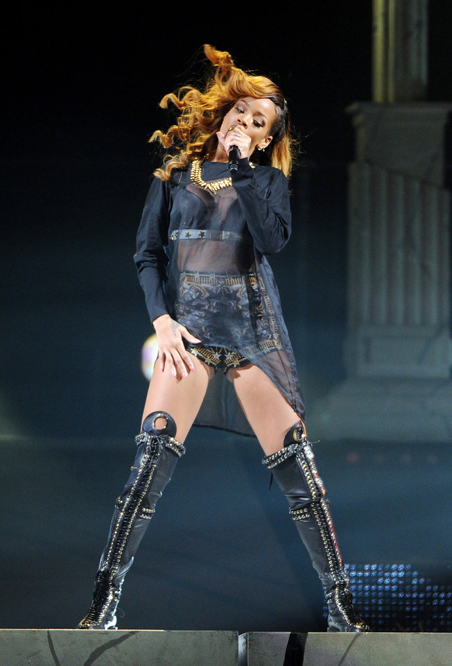 Photo -  Singer Rihanna performs at the Barclays Center on Tuesday, May 7, 2013 in New York. (Photo by Evan Agostini/Invision/AP) ORG XMIT: NYEA103