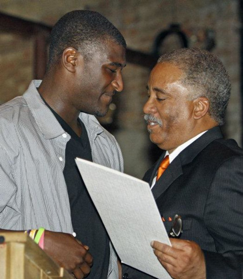 "Ardmore mayor John Moore (right) presents Jusin Blackmon with a proclamation declaring ""Justin Blackmon Day "" in Ardmore on Saturday, April 23, 2011, in Ardmore, Okla. Photo by Steve Sisney, The Oklahoman <strong>STEVE SISNEY</strong>"