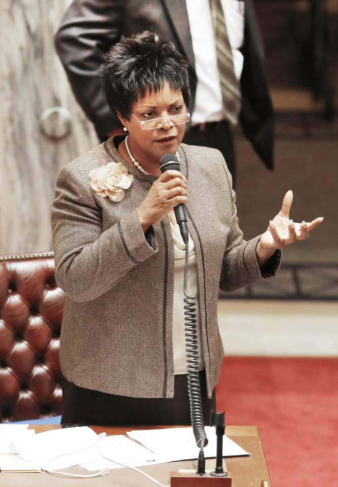 Oklahoma state Sen. Constance Johnson,  gestures as she debates the horse slaughter bill at the State Capitol in Oklahoma City , Tuesday March 26, 2013. Photo By Steve Gooch, The Oklahoman ORG XMIT: OKC1303121532440650